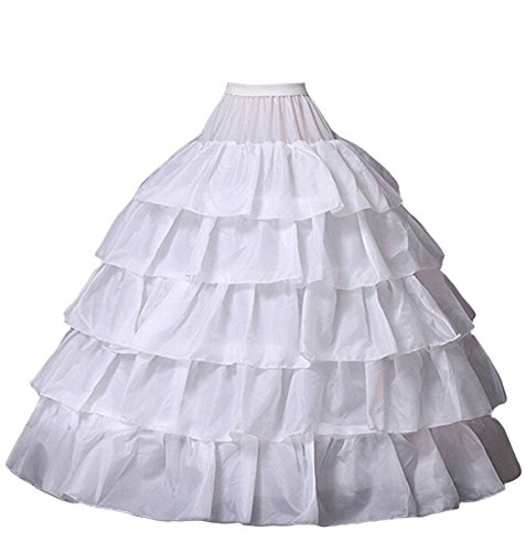 (Miranda's Bridal Women's Floor Length 4 Hoops Ruffles Bridal Wedding Petticoat Tiered Ball Gown Underskirt White M)