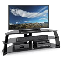 CorLiving TAP-609-T Taylor Extra Wide Glossy Black TV Stand with Glass Shelves