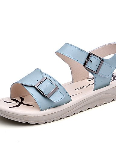 LFNLYX Zapatos de mujer-Tacón Plano-Gladiador-Sandalias-Vestido / Casual-Cuero-Azul / Rosa / Blanco White