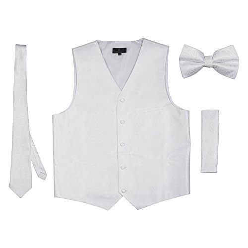 Vittorino Men's 4 Piece Formal Paisley Vest Set with Tuxedo Vest Tie Hankerchief Bow Tie , White , Small