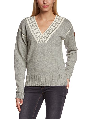 Dale of Norway Women's Alpina Feminine Sweater, Light Charcoal/Cream, Small
