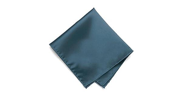 TieMart Loch Blue Solid Color Pocket Square