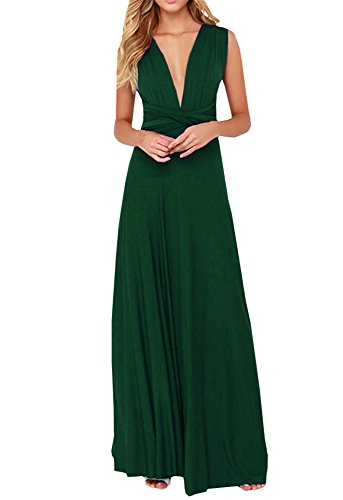 Chuanqi Women's Convertible Wrap Multi Way Party Bandage Long Maxi Dress (Small, Army Green)