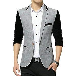 One Click Grey Black Men's Slim Fit Blazer