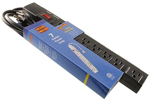 CablesOnline 2 Adapter Outlets /& 6-foot Right-Angle Cable 7 Outlets 1200-Joules Surge Protector Power Strip with 5 Horizontal Outlets SP-050