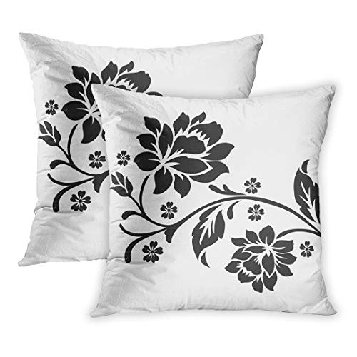 Emvency Throw Pillow Cover Pack of 2, Stencil Flower Floral Pattern Lace Border Silhouette Home Decor Square Size 18 x 18 Inches Cushion Pillowcase