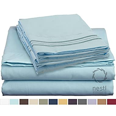 Bed Sheet Bedding Set, 100% Soft Brushed Microfiber with Deep Pocket Fitted Sheet - QUEEN - AQUA LIGHT BLUE - 1800 Luxury Bedding Collection, Hypoallergenic & Wrinkle Free Bedroom Linen Set