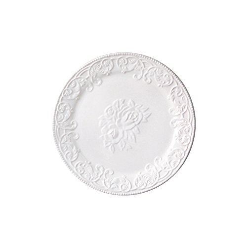 WAIT FLY Classical White Embossed Shaped Ceramic Dinner Plates/ Luncheon Plates/ Salad Plates/ Dessert Plates/ Pizza Plates 9' Shaped Dinner Plates
