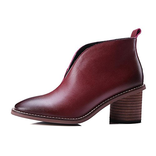 Pointed for Wine Ankle Quality Red 2016 Bootie Fashion New toe Short Top Fall Winter Chunky Heel BwpTqEPx