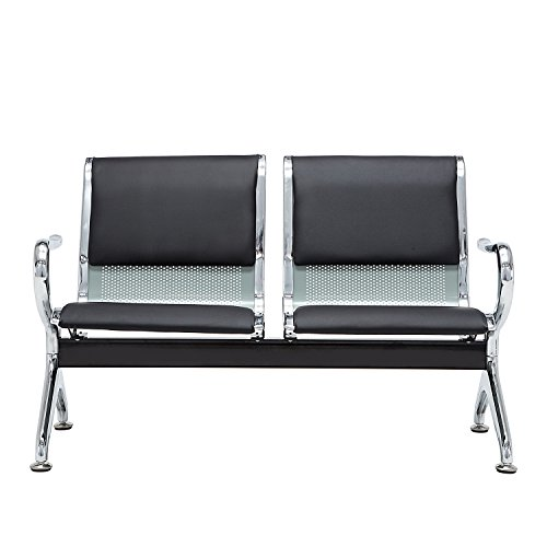 Walcut Deluxe Heavy Duty Black Pu Cashion Reception Area Airport Waiting Room Bench Chair 2 Seat