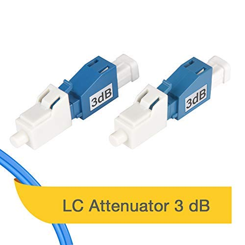 (LC/UPC Singlemode Fixed Fiber Optic Attenuator, Male-Female (3dB - 2 Pack))