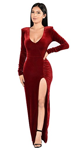 (Women's Casual Deep V-Neck Long Sleeve Vintage Maxi Dress Wine Red)