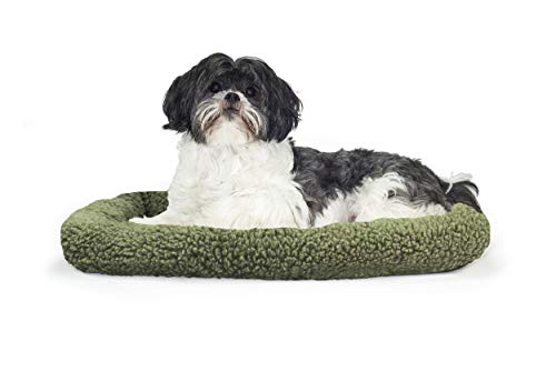 1 Piece Sage Medium Dog Crate Pad, Bolster Pet Bed Waterproof Pet Mat 30 Inches Faux Sheepskin Plush Berber Fabric Interior Quilted Pad Insulating Foam Soft Comfortable Modern, Polycanvas -