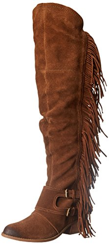 Naughty Monkey Women's Frilly Fanta Motorcycle Boot, Tan, 6 M US by Naughty Monkey