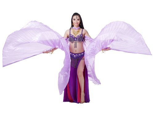 Dance Fairy Silk-Like Big Belly Dance Isis Wings Party Costumes(Light Purple ) (Latin Dancing Costume Patterns)