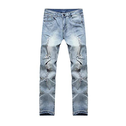 Chern Destroyed Hellblau De Hombres Cómodo Mezclilla Jeans Denim Biker Holes Men Pantalones Skinny Slim Los Fit Battercake Cool Knee Pants H178qW