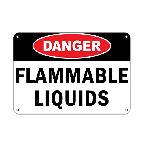 Danger Flammable Liquids Hazard Sign Flammable Aluminum Metal Sign 24 in x 18 in Custom Warning & Saftey Sign Pre-drilled Holes for Easy -