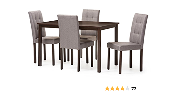 Baxton Studio Andrew 5pc Grey 9 Grids Dining Set Gray Table Chair Sets Amazon Com