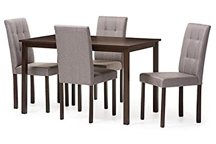 Delicieux Baxton Studio 5 Piece Andrew Modern And Contemporary Fabric Upholstered  Grid Tufting Dining Set,