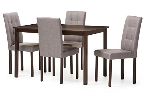 Baxton Studio 5 Piece Andrew Modern and Contemporary Fabric Upholstered Grid-Tufting Dining Set, Gray 5 Piece Studio