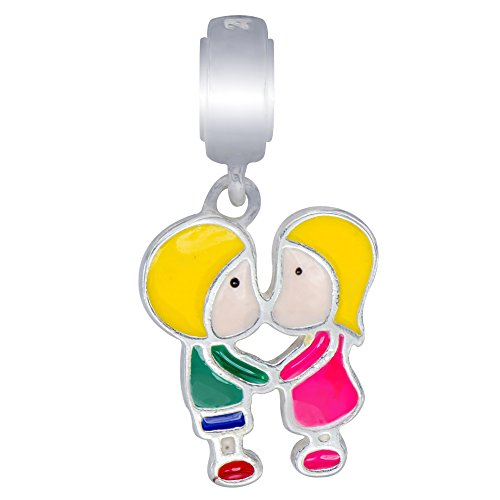 925 Sterling Silver Boy Girl First Kiss Best Friends Enamel Colors Dangle Charm Bead Fit (Kiss The Elder Costumes)