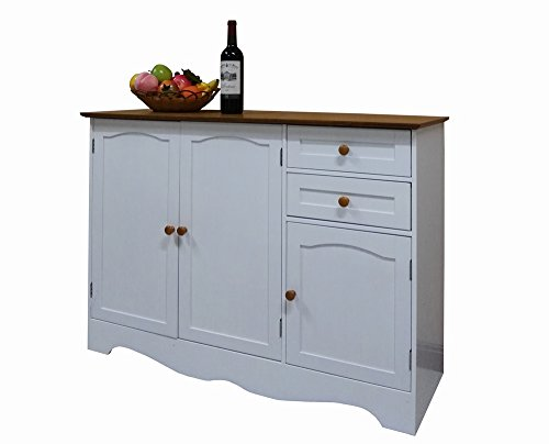 Buffet Table Hutch - Homecharm-Intl 43.3x15.8x30.7-Inch Storage Cabinet,White(HC-001)