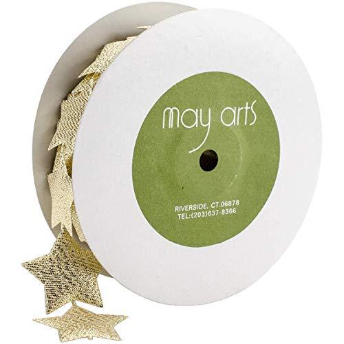 May Arts 1.5' Metallic Star Banner Ribbon, 10 yd, Gold