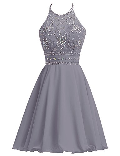 (Sarahbridal Juniors Chiffon Short Homecoming Dresses Halter Prom Party Cocktial Gowns Gray US4)