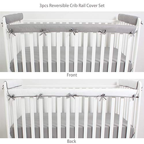 CaSaJa 3 Pieces Reversible Microfiber Crib Rail Cover Set for 1 Front Rail and 2 Side Rails, Soft Batting Inner for Baby Teething Guard, Gray or White, Fits Up to 8 inches Around or 4 inches Folded ()