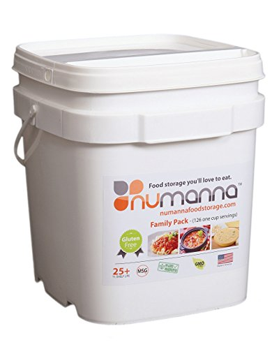 - NuManna INT-NMFPGF 126 Meals, Emergency Survival Food Storage Kit, Separate Rations, in a Bucket, 25 Plus Year Shelf Life, GMO-Free & Gluten Free