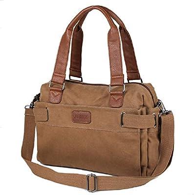 Paquete: 1 * bolso del bolso de los hombres de la manera marrón de la lona del color sólido de la vendimia de la cartera del ocio del negocio bolso del ...