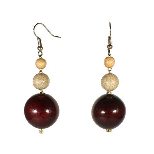 Bohemian Silvertone Wooden Dangle Earrings Brown Boho Coachella Three Beads Jewelry (Brown (Wooden Fashion Earrings)