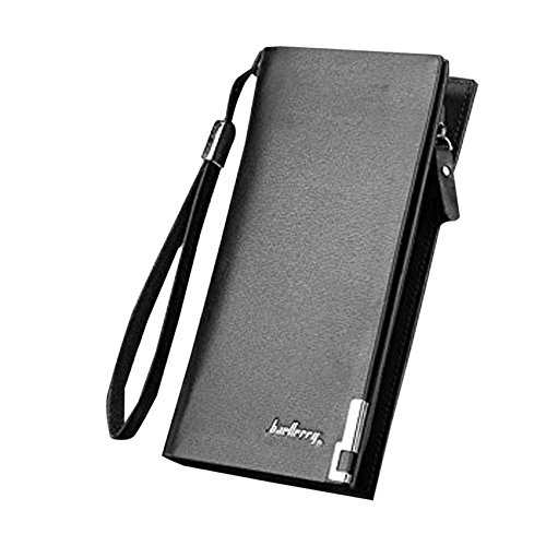 Lorna Long Zipper Leather Wallet For Unisex - Black/Brown (Black)