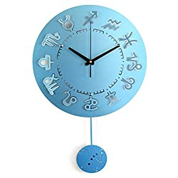 EQEQ The watches blue pendulum clock money gold red metallic part of cycle large modern, simple mute silent appropriate for the bedrooms and lounge & Assembly & kitchen size 5638 cm (color blue)