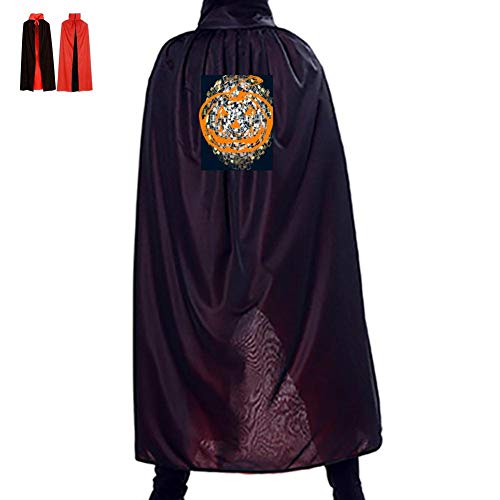Yellow Pumpkin Lantern Double Hooded Robes Cloak Knight Cosplay Costume 35.5(in)