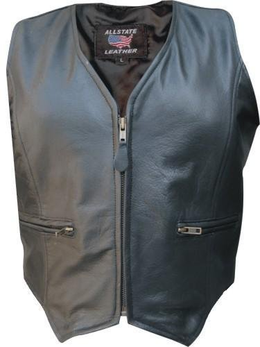 Lambskin Zippered - Ladies Lambskin vest with zippered front & two zippered front pockets