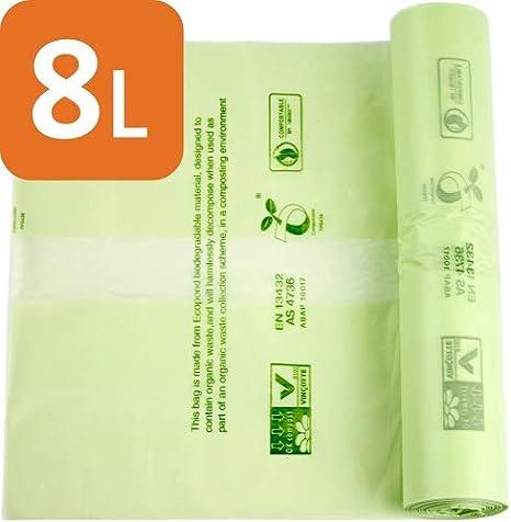 Bolsas de basura compostables de Alina, para alimentos y residuos biodegradables, 8 litros de capacidad, con la guía de compostaje de Alina, 100 ...