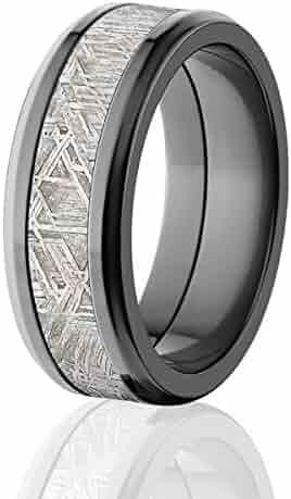 8mm Beveled Meteorite Wedding Ring, Premium Comfort Fit Design