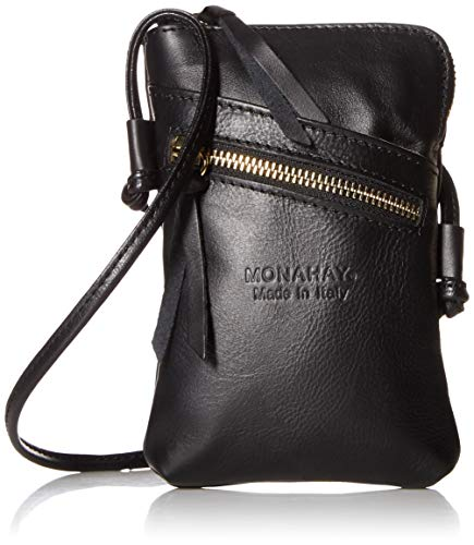 MONAHAY Small Italian Leather Cross Body Cell Phone and Passport Travel Pouch Bag MH9723 ... (Black)