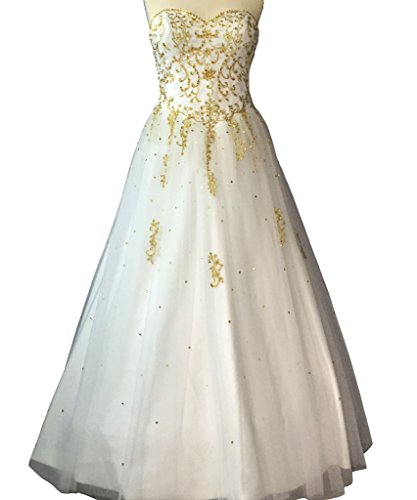 Lemai Plus Size Gold Embroidery Beaded Long A Line Tulle White Prom Wedding  Dresses US 18W