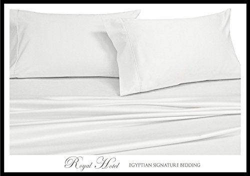 Solid White Twin-Extra-Long Size Sheets, 3PC Bed Sheet Set, 100% Cotton, 300 Thread Count, Deep Pocket, by Royal Hotel