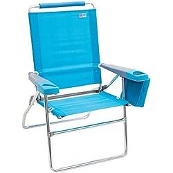 """Rio Beach 17"""" Extended Height 4 Position Folding Beach Chair - Teal"""