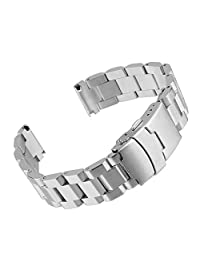 Beauty7 24mm Stainless Steel Link Wrist Watch Band Bracelet Strap Replacement Double Locking Clasp