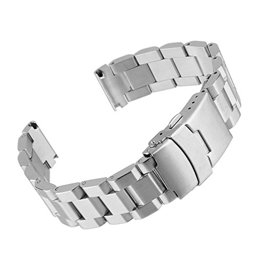 Beauty7 22mm Stainless Steel Link Wrist Watch Band Bracelet Strap Replacement Double Locking Clasp
