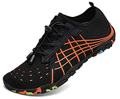 kealux Men Women Barefoot Quick-Dry Water Sports Shoes Multifunctional Sneakers with Drainage Holes for Swim, Walking, Yoga, Lake, Beach, Garden, Park, Driving, Boating Black Size: 5.5 Women/4 Men
