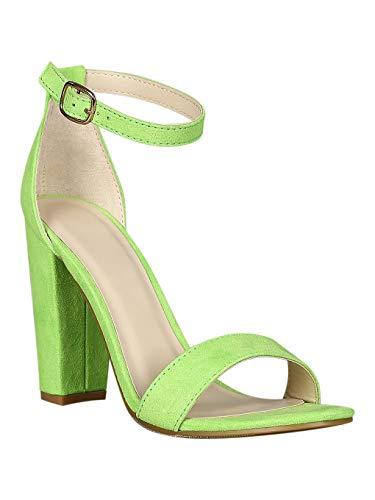 Women Faux Suede Single Sole Open Toe Ankle Strap Chunky Heel Sandal RD58  Neon Green Faux Suede Size: 70