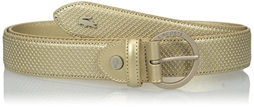 Lacoste Women's 30 Curved Stitched Edges Belt, rich gold, 35 Inches (EUR 90) (Belt Brown Lacoste)