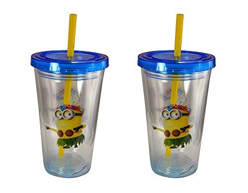 2-Pack Minions Hula Dancer Kids 12oz Double Wall Fun Sip Tumbler with Lid & Straw (Oz Lids With 12 Tumblers Plastic)