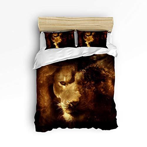 YEHO Art Gallery Soft Duvet Cover Set Bed Sets for Children Kids Girls Boys,Horrible 3D Lion Head Animal Pattern Bedding Sets Home Decor,1 Comforter Cover with 2 Pillow Cases,Full Size