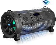 Pyle Bluetooth Boombox Street Blaster Stereo Speaker - Portable Wireless Power FM Radio / MP3 System w/ Remote, LED Lights &